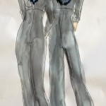watercolor sketch of grey jumsuit