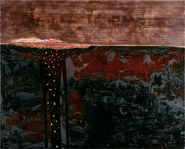 Batea, 2008 -48X60X2-Coffee, wine, gold leaf, oil and hand stitching on canvas