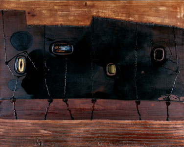 Nocturnal Dream, 2008 -48X60X2-Coffee, gold leaf, wine, resin, oil and hand stitching on canvas