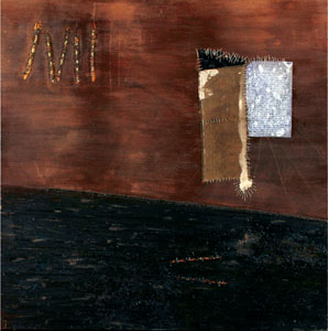 The Writer's Cell, 2009 -48X48X2-Coffee, gold leaf, wine, resin, oil and hand stitching on canvas