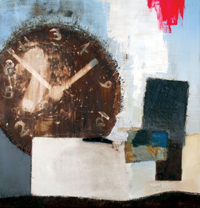 Displaced Dwelling, 2008 -74X72X2-Coffee, wine, oil, resin and hand stitching on canvas