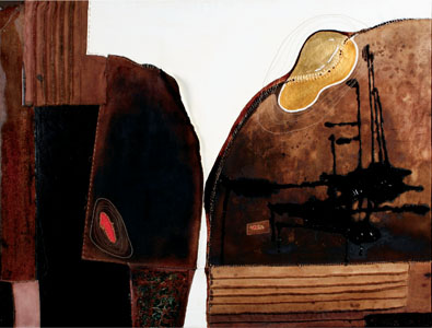The Word Dreamer, 2008 -60X48X2-Coffee, gold leaf, wine, oil and hand stitching on canvas