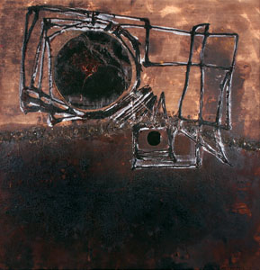 Absence, 2009 -74X72X2-Coffee, wine, resin, oil and hand stitching on canvas