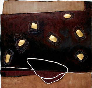 Reveries, 2007 -48X48X2-Coffee, gold leaf, oil and hand stitching on canvas