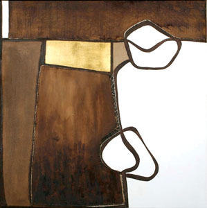 Untitled, 2007 -48X48X2-Coffee, wine, gold leaf, oil and hand stitching on canvas