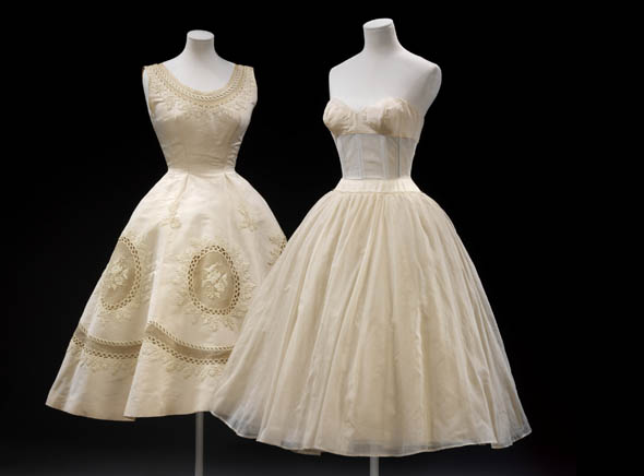 """""""Les Muguets"""" (""""Lily of the Valley"""") evening dress by Hubert de Givenchy. Organza with sequins and beads, 1955."""