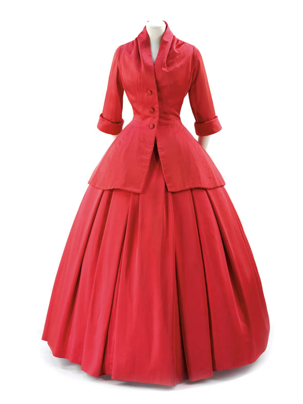 """""""Zemire"""" evening dress by Christian Dior. Evening shoes by Roger Vivier for Dior. Synthetic satin, 1954."""