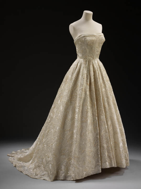 Dress & petticoat by Pierre Balmain. Dress: Givenchy, 1955, silk grosgrain with Swiss embroidery; Petticoat: boned silk and net.