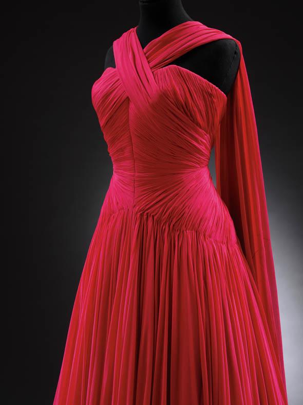 Detail of evening dress by Jean Desses. Silk chiffon, 1953.
