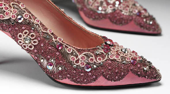 Evening shoes by Roger Vivier for Dior. Synthetic satin, 1954. Embroidered silk and sequins, late 1950s.