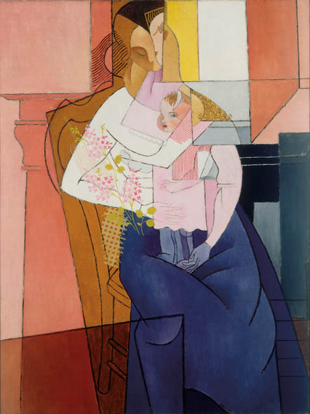 Gino Severini, Femme et Enfant (Woman and Child), 1916, Oil on burlap