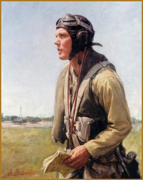 "Portrait of Pilot Bergthor Endresend, Oil on canvas, 34"" x 24"""