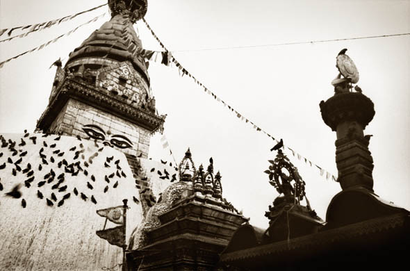 Swayambhunath Temple, Kathmandu, Nepal. Looking at this photograph, there is a sense of the temple being alive.