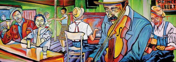 Juke Joint Jam, acrylic house paint on 3D wood cutout, 8' x 4'