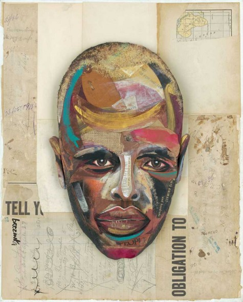 "The Faces of Mogadishu, Part III, Collage mixed media, 20"" x 16"""