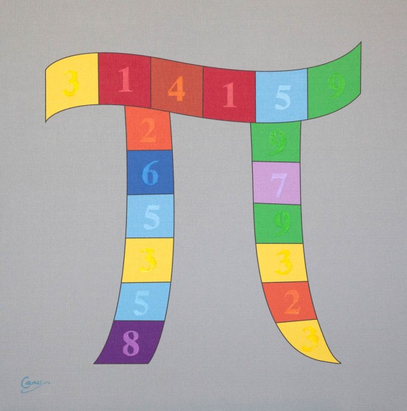 "Opus 38 - Pi in Rainbow Colors with Numbers, 2013, uV ink on canvas, 26"" x 26"""