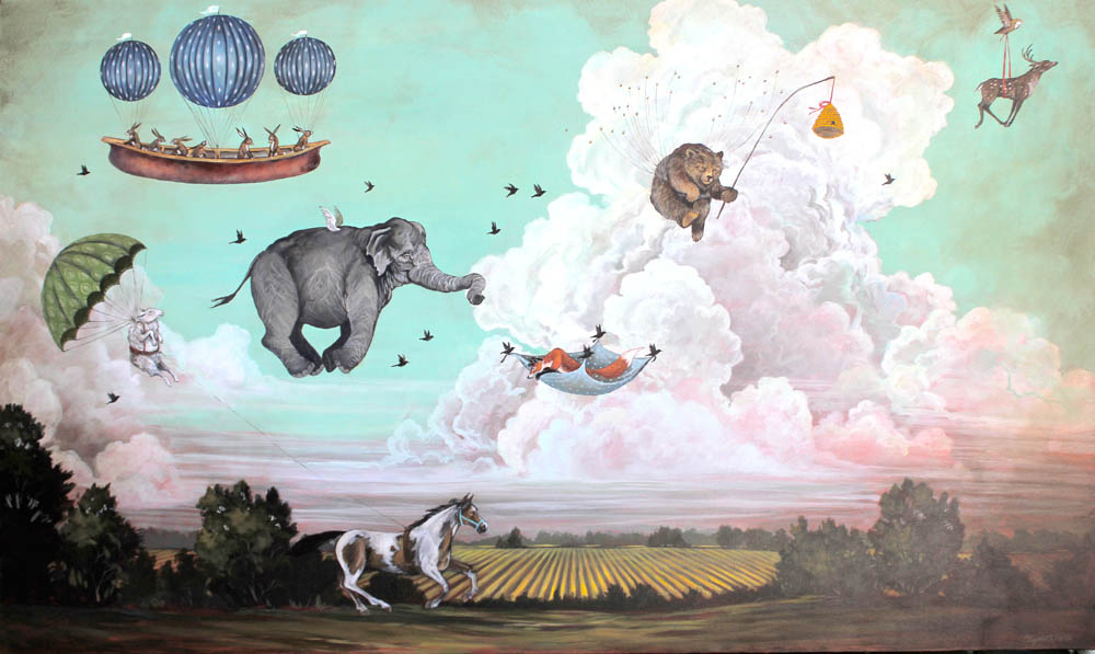"The Incredible Race, 2012, Acrylic on canvas, 36"" x 60"""