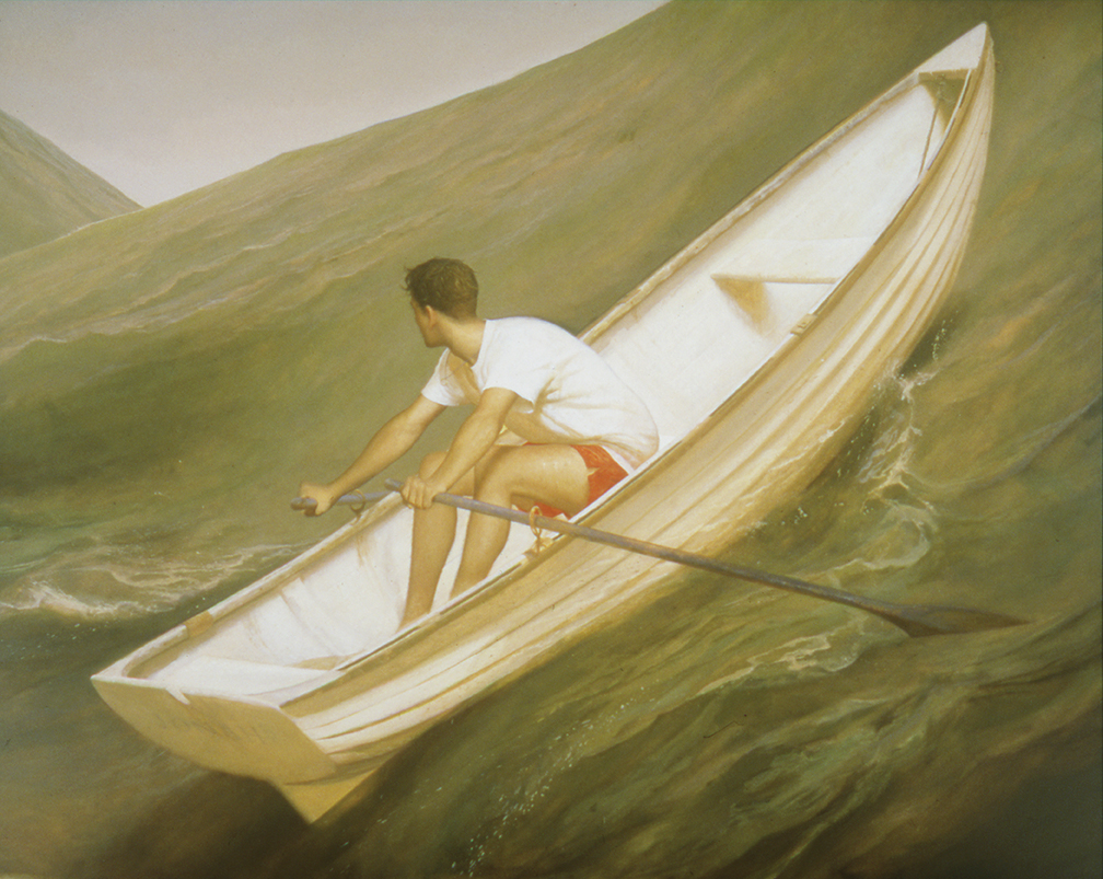 "Lifeboat, 1998, Oil on linen, 80"" x 100"""