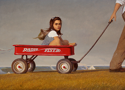 "Radio Flyer, 2012, Oil on linen, 48"" x 66"""