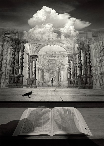 "Jerry Uelsmann, Dream Theater, 2004, Gelatin silver print,  16"" x 20"""