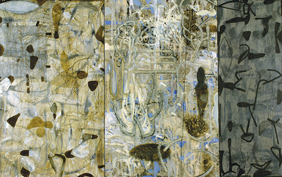 "Alfred DeCredico, 1991, Indomeneo: Echo, Mixed media on canvas and wood,  41"" x 65"""
