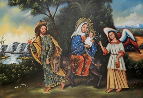 "Clorinda Chávez Galdós Bell, La Huida de Egipto (The Flight Into Egypt), 2002, Oil on canvas, 31.5"" x 47""  Bell writes, ""It's from Matthew 2, 13-15, a common theme in art that identifies the Holy Family with the plight of immigrants. The flight into Egypt is shown with the Virgin Mary, the Christ Child, and St. Joseph in company with the protecting archangel."""