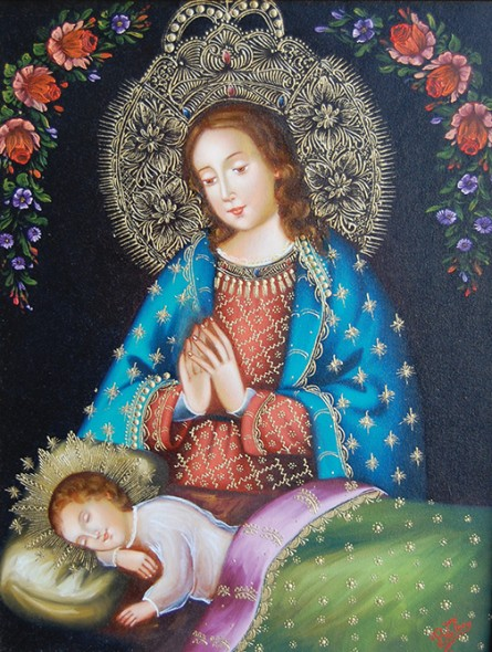 "Clorinda Chávez Galdós Bell, La Virgen velando el sueño del Niño Jesús (The Virgin watching over the slumber of the Christ Child), 2007, Oil on canvas, 18"" x 14"""