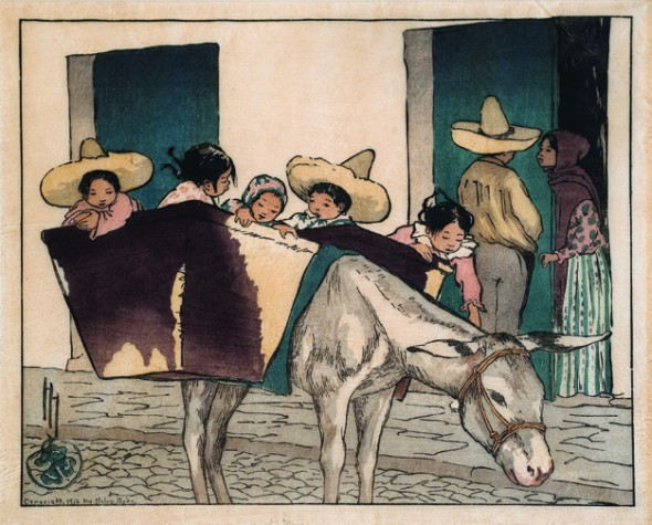An Interlude, the Bradman's Donkey, Color woodcut, circa 1912