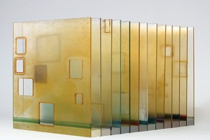 Carrie McGee, Invitation to See, Rust and acrylic pigments on transparent acrylic sheets