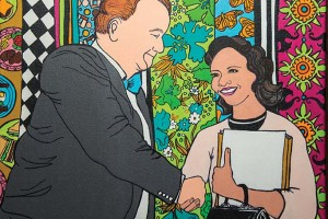 "Mayor Ben West and Diane Nash–a moment in civil rights history, 2013, Acrylic on canvas, 16"" x 20"""