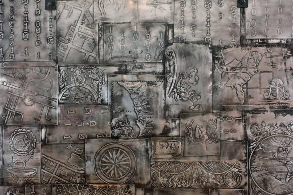 "Point of Entry: Door, Structure One, 2011, Aluminum repoussé and enamel paint,7"" x 5"""