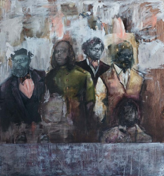"""My Ethnographical Genome: All the General's Men, 2012, Mixed media on wood panel, 44"""" x 48"""""""