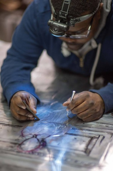 Jamaal Sheats at work in his studio