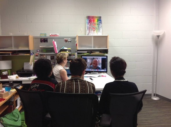 Skype session with Robert Bodem, Director of Sculpting at The Florence Academy of Art in Florence, Italy. Photograph by Dona Berotti