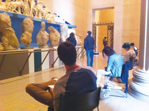 Artists-in-residence sketch statues in the Parthenon. Photograph by Dona Berotti