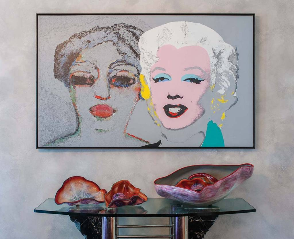 Dining Room: Joseph Levi, Still Life with Van Dongen and Warhol, Acrylic and graphite on canvas, and Dale Chihuly, Glass sculpture