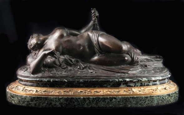 Francois Theodore Devaulx, Bacchante, 1846, Bronze mounted on green marble base, L. 17""