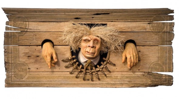 "Petro Man, 2011, Basswood, oak, vine, corn, 20"" x 43"""