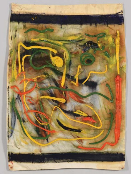 Beauford Delaney  (1901-1979) used a pillowcase as support material for this abstract painting while living in Paris in the late 1950s (est. $5,000-$7,000; Provenance: Delaney estate)
