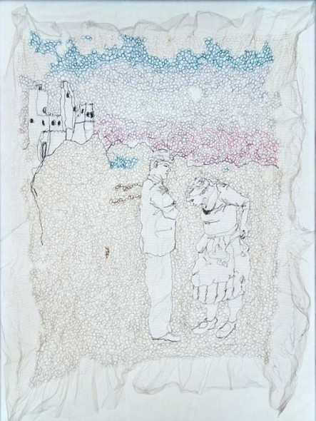 "The Castle, 2014, Wool, cotton and silk thread on tulle fabric, 43"" x 34"""