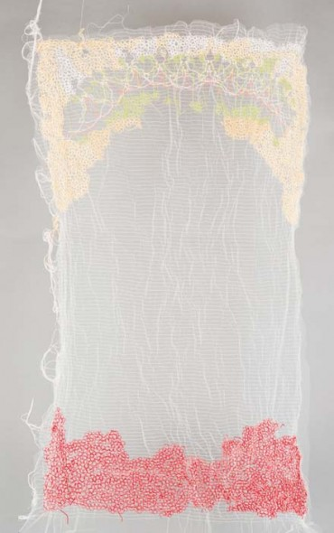 "Untitled, 2009, Wool, cotton and silk thread on tulle fabric, 40"" x 30"""