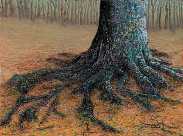 "Old Beech Tree at the Edge of an Old Forest, 2012, Oil, 18"" x 24"""