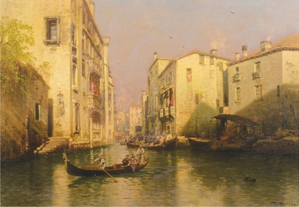 "Herman Ottomar Herzog, Twilight on The Venetian Lagoon, Circa 1900, Oil on canvas, 22"" x 27"""