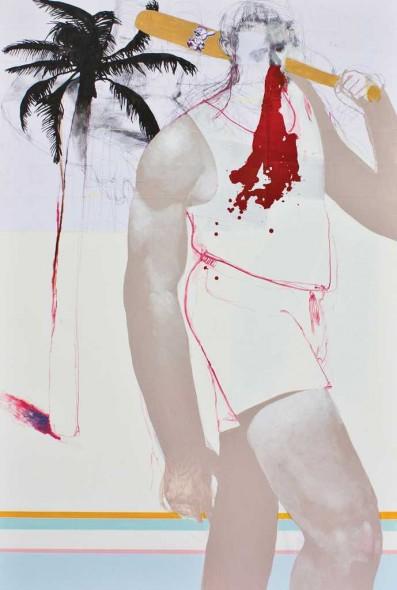 "Old Bradenton, 2014, Mixed media on canvas, 78"" x 48"""