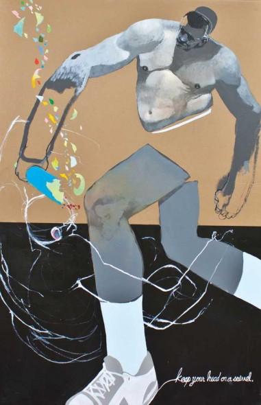 "Swivel, 2014, Mixed media on cardboard, 72"" x 48"""