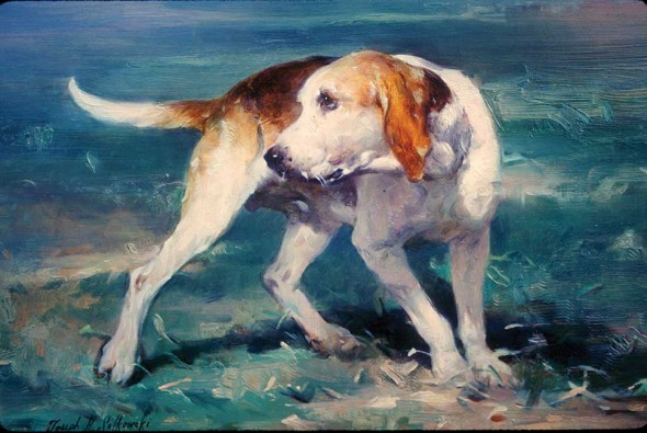 "Study of Foxhound, Oil on panel, 12"" x 16"""