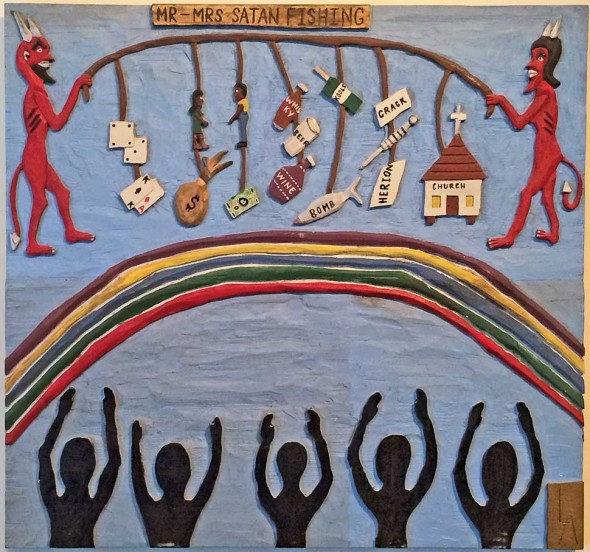 "Leroy Almon, (1938-1997; Tallapoosa, GA), Mr. & Mrs. Satan Fishing, 1991, Polychrome bas-relief wood carving, 23"" x 24"""
