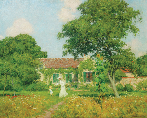 "Marcel Adolphe Bain, La promenade dans le jardin, Oil on canvas, 40"" x 50"""