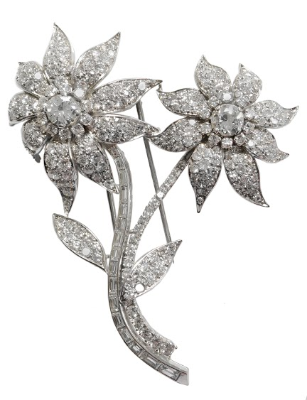 Platinum and Diamond Double Flower Motif Brooch