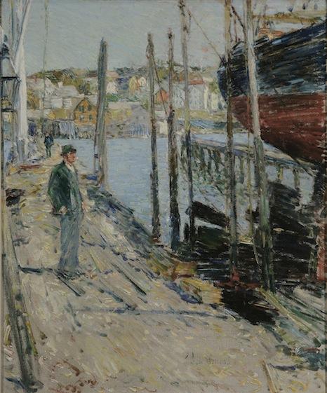 Childe Hassam, Dockside Gloucester, Massachusetts, Oil on canvas